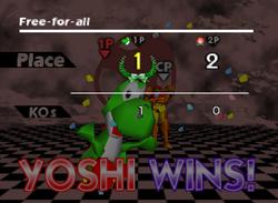 Pose de victoria de Yoshi (3-2) SSB