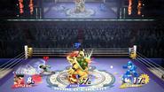 Little Mac, Bowser y Mega Man con sus respectivos medidores de daño SSB4 (Wii U)