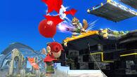 Fox explotando los globos del Aldeano SSB4 (Wii U)