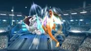 Charizard atacando un oponente con Vuelo SSB4 (Wii U)
