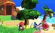 Lucario, Rey Dedede y Mario junto a un árbol en la Isla Tórtimer SSB4 (3DS)