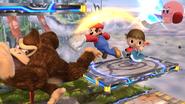 Mario, Donkey Kong, el Aldeano y Kirby en el Campo de Batalla SSB4 (Wii U)