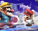 Mario lanzando una bomba Gooey SSBB