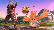 Riki junto a Shulk en el Campo de Batalla SSB4 (Wii U)
