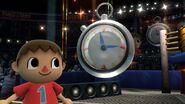 Aldeano junto al cronómetro en el Cuadrilátero SSB4 (Wii U)