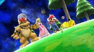 Bowser, Peach, Mario y Pikachu en la Galaxia Mario SSB4 (Wii U)