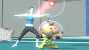 Entrenadora de Wii Fit y Olimar en la zona de entrenamiento SSB4 (Wii U)