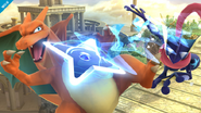 Charizard esquivando el Shuriken de agua de Greninja SSB4 (Wii U)