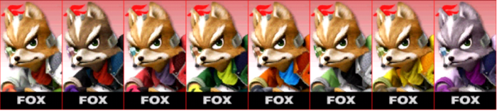 Paleta de colores de Fox SSB4 (3DS)