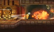 Explosion de Rodomba afectando a Pooka y Eggrobo en Smashventura SSB4 (3DS)