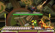 Yoshi, Greninja y Charizard en la Torre Prisma SSB4 (3DS)