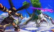 Mewtwo y Pit Sombrío en el Campo de batalla SSB4 (3DS)