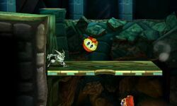 Pooka atacando a Greninja en Smashventura SSB4 (3DS)