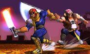 Captain Falcon y Samurai Goroh en Rescate Mii SSB4 (3DS)