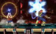 Lucas atacando a Capitan Falcon con el Paralisis PSI en Norfair SSB4 (Wii U)
