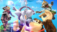 Mewtwo, Donkey Kong, Fox y Shulk en Pilotwings SSB4 (Wii U)