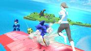 Megaman Sonic y la Entrenadora de Wii Fit con un balón SSB4 (Wii U)