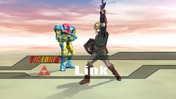 Pose de victoria hacia abajo Link SSBB