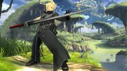 Cloud con el traje alternativo de Advent Children en Llanuras de Gaur SSB4 (Wii U)