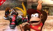 Diddy Kong haciendo su burla inferior en el Valle Gerudo SSB4 (3DS)