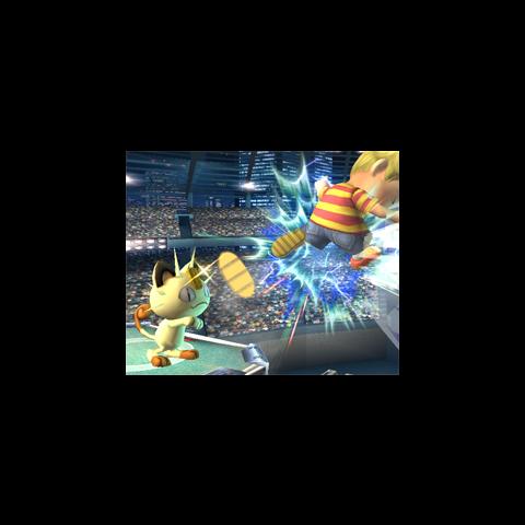 Meowth utilizando Día de pago en <i>Super Smash Bros. Brawl</i>.