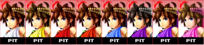 Paleta de colores de Pit SSB4 (3DS)