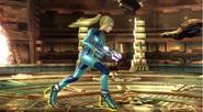 Samus Zero caminando en Pirósfera 2 SSB4 (Wii U)