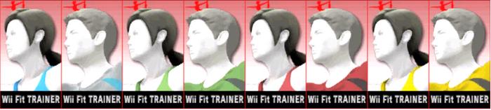 Paleta de colores de Entrenadora de Wii Fit (JAP) SSB4 (3DS)