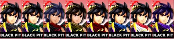 Paleta de colores de Pit Sombrío (JAP) SSB4 (3DS)