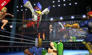 Falco, Luigi, Shulk, Captain Falcon en el Cuadrilátero SSB4 (3DS)