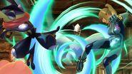Greninja y Samus Zero esquivando el Aerochorro de Lugia SSB4 (Wii U)