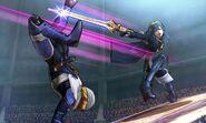 Lucina atacando a Sheik en el Coliseo de Regna Ferox SSB4 (3DS)