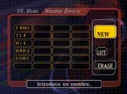 Menú de nombres en Super Smash Bros. Melee