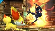 Fennekin atacando a Greninja SSB4 (Wii U)