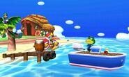 Luigi y Rey Dedede junto al Capítan en la Isla Tórtimer SSB4 (3DS)