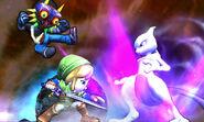 Mewtwo y dos Luchadores Mii con atuendos de DLC SSB4 (3DS)
