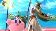 Kirby junto a Palutena en Pilotwings SSB4 (Wii U)