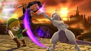 Mewtwo y dos Espadachines Mii en el Gran Puente de Eldin SSb4 (Wii U)