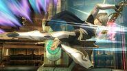 Corrin usando la patada trasera durante Embestida Dragon SSB4 (Wii U)
