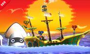 Mario, Luigi y La Entrenadora de Wii Fit en el escenario de Paper Mario SSB4 (3DS) (2)