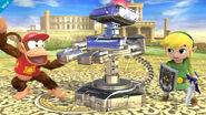 R.O.B. metálico junto a Toon Link y Diddy Kong en el Reino del Cielo SSB4 (Wii U)