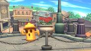 Giroide en el fondo del escenario Ciudad Smash SSB4 (Wii U)