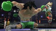 Giga Mac agarrando a Fox en el Ring de boxeo SSBWiiU