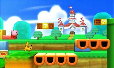 Kirby y Pikachu en Super Mario 3D Land SSB4 (3DS)