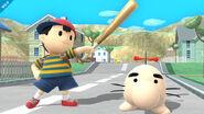 Ness junto a un Mr. Saturn SSB4 (Wii U)
