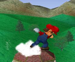 Ataque Smash hacia arriba de Mario SSBM