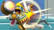 Rey Dedede siendo atacado por la Entrenadora Wiii Fit SSB4 (Wii U)