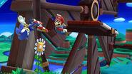 Sonic y Mario en el molino de la Zona Windy Hill (SSB for Wii U)