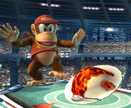 Diddy Kong mirando el Curry superpicante SSBB