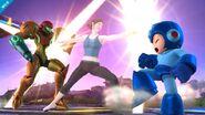 Entrenadora de Wii Fit atacando a Samus y Mega Man SSB4 (Wii U)